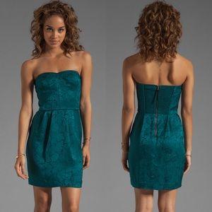 Rebecca Taylor Sequin Silk Strapless Dress Emerald